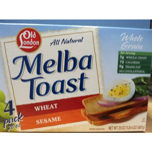Old London London All Natural Melba Toast Whole Wheat and Sesame Variety Pack Four Pack 20 Ounces