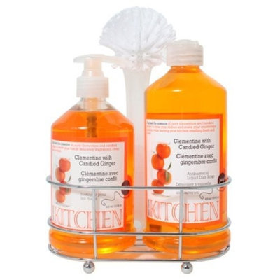 Upper Canada Soap   Candle Upper Canada Soap & Candle Kitchen New Caddy Set with Dish Soap and Hand Wash, Clementine with Candied Ginger