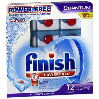 Finish Quantum Dishwasher Detergent, Power & Free, 12 ea