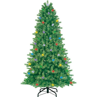 GE Pre-Lit 7.5' iTwinkle Colorado Spruce Artificial Christmas Tree, Multi-Color Lights