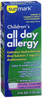 Sunmark Childrens All Day Allergy Oral Solution, Bubble Gum Flavor 4 oz by Sunmark
