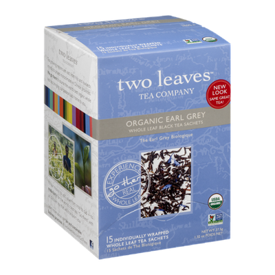 Two Leaves Tea Company Organic Earl Grey Whole Leaf Tea Sachets - 15 CT