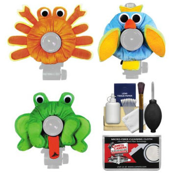 Camera Creatures Owl, Frog & Crab Portrait Posing Prop Essentials Bundle with Cleaning Kit
