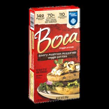Boca Veggie Protein Savory Mushroom Mozzarella Veggie Patties - 4 CT