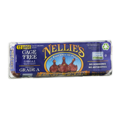 Nellie's Cage Free Eggs Grade A Large Fresh Brown - 12 CT