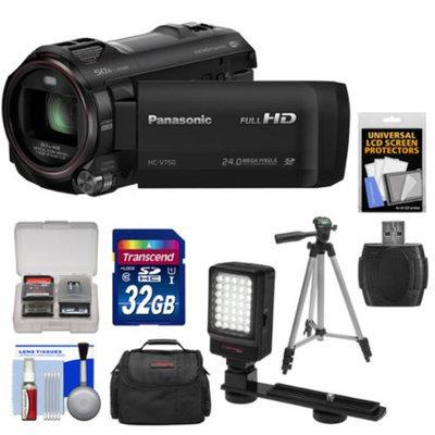 Panasonic HC-V750K HD Wi-Fi Video Camera Camcorder with 32GB Card + Case + LED Light + Tripod + Kit