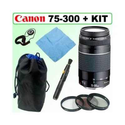 Canon EF 75-300MM F/4-5.6 III Telephoto Zoom Lens with Deluxe Accessory Kit