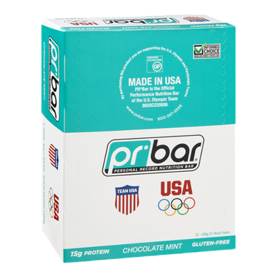 PR Bar Personal Record Nutritional Bar Chocolate Mint - Gluten Free -12 Bars