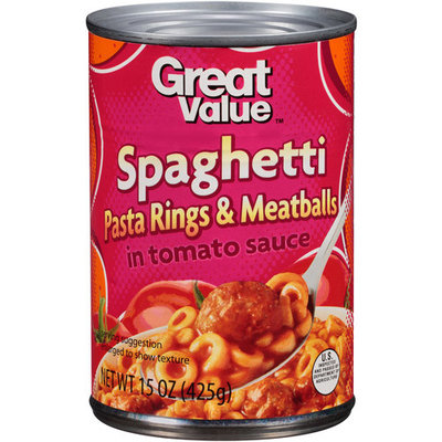 Great Value Spaghetti Rings With Meatballs In Tomato Sauce