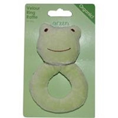 green sprouts by i play Organic Velour Ring Rattle - Frog