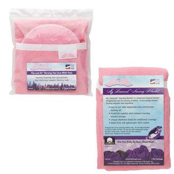 Test NuAngel Flip & Go Nursing Pad Case with Pink Nursing Blanket Set, Pink