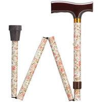 Harvy Adjustable Fritz Cane Metallic Flowers , Brown Solid Wood Handle -Affordable Gift! Item #DHAR-9052515