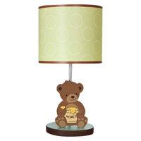 Bedtime Originals Green, yellow brown Honey Bear Lamp w/Shade & Bulb