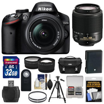 Nikon D3200 Digital SLR Camera & 18-55mm & 55-200mm DX AF-S Zoom Lens and Case with 32GB Card + Battery + Filters + Tripod + Tele/Wide Lens Kit