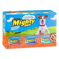 Purina Mighty Dog Hearty Beef Dinner, Chicken & Smoked Bacon Combo and Lamb & Rice Dog Food - 12 CT