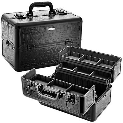 SEPHORA COLLECTION Embossed Traincase – Black Faux Croc