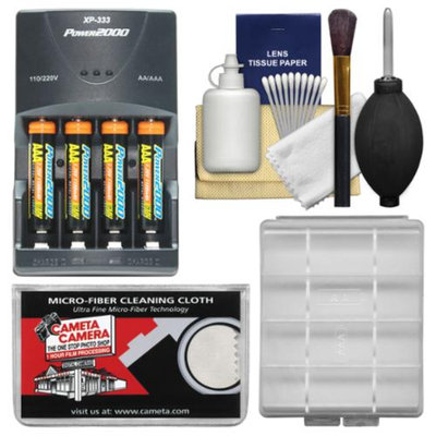 Power Essentials Bundle for Sony Alpha HVL-F20M Flash with (4) AAA Batteries & Charger + Cleaning & Accessory Kit
