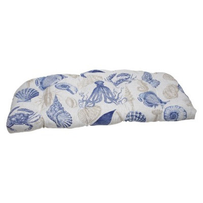 Pillow Perfect Outdoor Wicker Loveseat Cushion - Blue/Tan Sealife