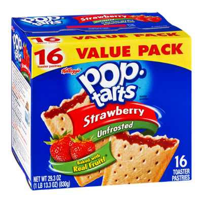 Kellogg's Pop-Tarts Strawberry Unfrosted Toaster Pastries - 16 CT