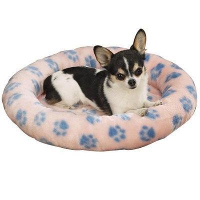 Slumber Pet 45-Inch Plush Oval Dog Bed, X-Large, Pink Pawprint