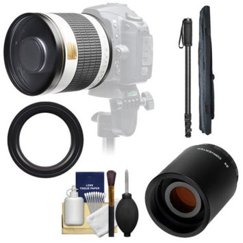 Samyang 500mm f/6.3 Mirror Lens (White) with 2x Teleconverter (=1000mm) + Monopod Kit for Nikon D3100, D3200, D5100, D7000, D700, D800, D4 Digital SLR Cameras