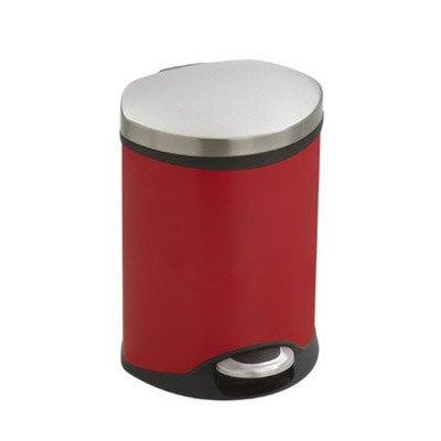 Safco Products Ellipse Step-On Waste Receptacle, 1-1/2 Gallon, Stainless Steel, 9900SS