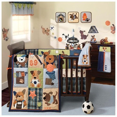 Babies R Us Lambs & Ivy Bow Wow Buddies 9pc Bedding Set