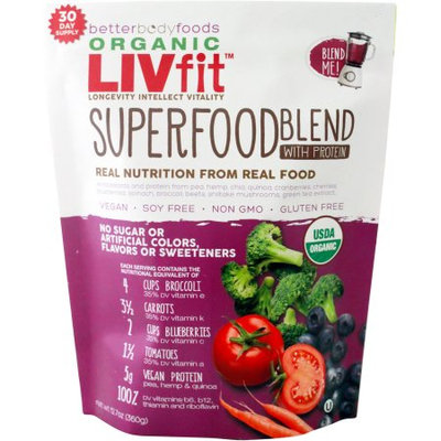 Generic BetterBody Foods Organic LIVfit Superfood Blend with Protein, 12.7 oz