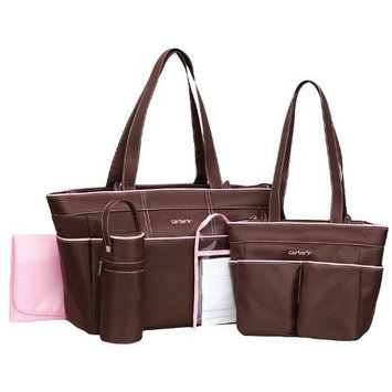 Carter's Carters 5-Piece Girls Diaper Bag Set - brown/pink, one size