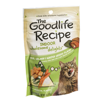 The Goodlife Recipe Real Indoor Wholesome Delights Salmon & Garden Greens Treats for Cats