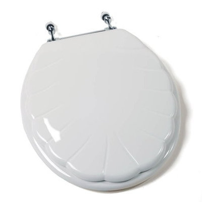 Comfort Seats C1B4R7-00AMCH Deluxe Seashore Wood Round Toilet Seat with Anti-microbial and Chrome Hinge, White