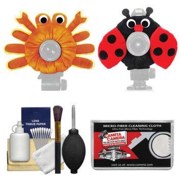 Camera Creatures Ladybug & Captivating Crab Portrait Posing Prop Essentials Bundle with Cleaning Kit