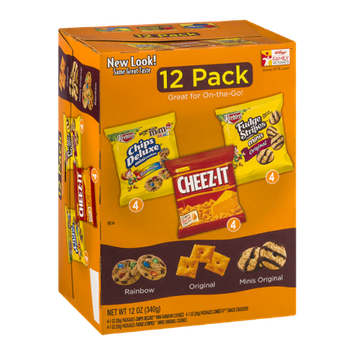 Kelloggs Variety Pack - Keebler Chips Deluxe Mini Rainbow, Sunshine Cheez-it, Keebler Mini Fudge Stripes - 12 CT