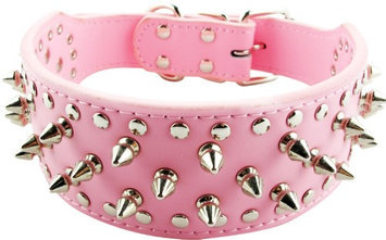 Pds Online Personalised Punk PU Leather Spikes Small Breed Dog Collars - Pink