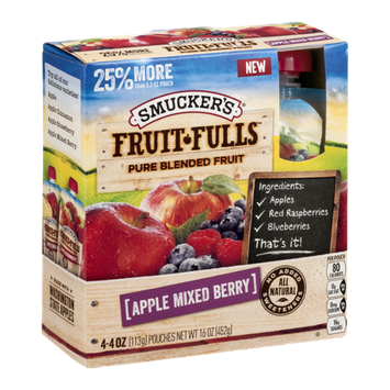 Smucker's Fruit-Fulls Pure Blended Fruit Pouches Apple Mixed Berry - 4 CT