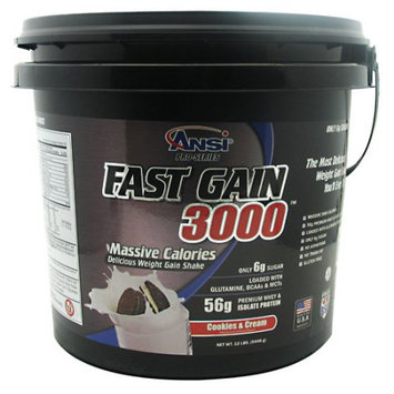 ANSI - Fast Gain 3000 - Massive Calorie Weight Gainer - 12lb (Cookie & Cream)