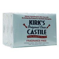 Kirk's Original Coco Castile Bar Soap, Fragrance Free, 3 ea