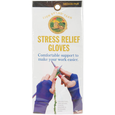 Lion Brand Stress Relief Gloves For Knitters Purple Medium
