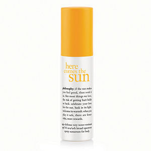 philosophy here comes the sun age-defense very water-resistant spf 30 spray sunscreen for body