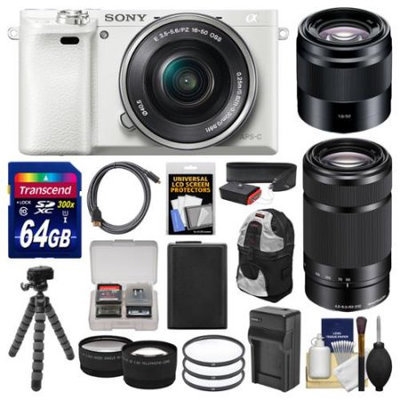 Sony Alpha A6000 Wi-Fi Digital Camera & 16-50mm (White) with 55-210mm & 50mm f/1.8 Lenses + 64GB Card + Case + Battery/Charger + Tripod + Kit with SONY USA Warranty
