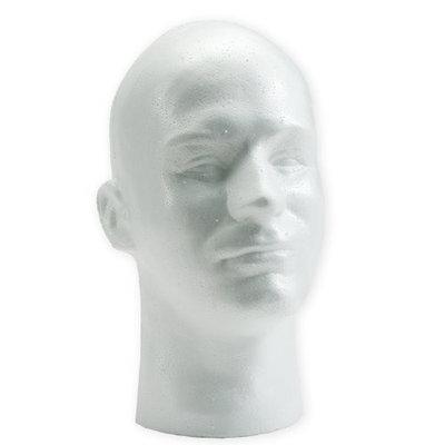 Male Mannequin White Styrofoam Head