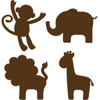 WallPops Baby Jungle Silhouettes Decals, Espresso Brown