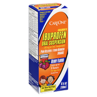 CareOne Berry Flavor Children's Ibuprofen Oral Suspension Pain Reliever/Fever Reducer (NSAID)