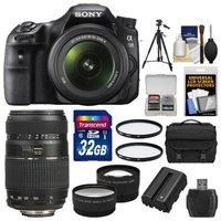 Sony Alpha SLT-A58 Digital SLR Camera Body & 18-55mm with 70-300mm Lens + 32GB Card + Case + Battery + Tripod + Filters + Tele/Wide Lens Kit