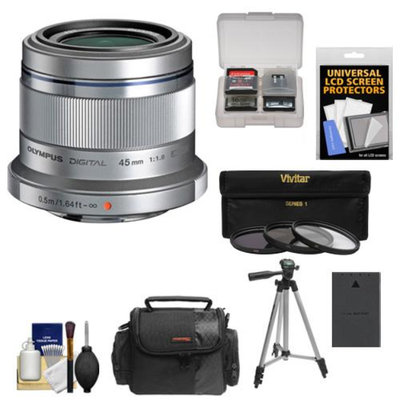 Olympus M.Zuiko 45mm f/1.8 ED Lens (Silver) with 3 UV/ND8/PL Filters + Battery + Cleaning Accessory Kit for Pen 4/3 Digital Cameras