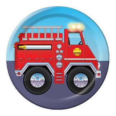 Birthday In A Box Firefighter Cake Plates (8-pack)