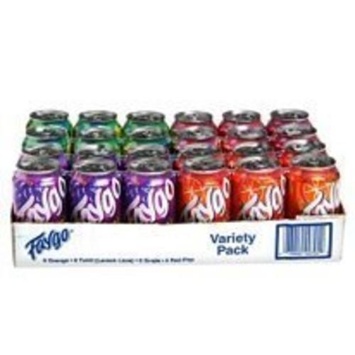 Faygo variety flavor soda, 6-redpop, 6-twist, 6-orange, 6 grape; 12-fl. oz. cans, 24-pack