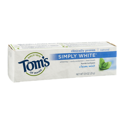Tom's of Maine Simply White Fluoride Toothpaste Clean Mint
