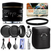 47th Street Photo Sigma 8mm F3.5 EX DG Circular Fisheye Lens for Canon (485101) with Starter Accessories Package includes UV Ultraviolet Filter + Deluxe Cleaning Kit + Air Dust Blower + Cap Keeper + $50 Prints Gift Card