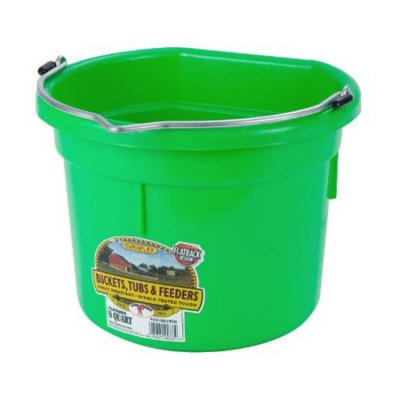 Miller Mfg Inc Miller Mfg Co Inc Flat Back Plastic Bucket- Lime Green 8 Quart - P8FBLIMEGREEN